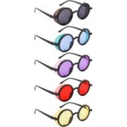 NuVew Round, Shield Sunglasses(Black, Blue, Violet, Red, Yellow)
