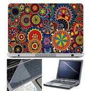 FineArts Laptop Skin Colorfull Floral Circle With Screen Guard and Key Protector - Size 15.6 inch