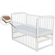 BabyNeeds Patut din lemn Ola 120x60 cm cu laterala culisanta Alb Saltea 8 cm