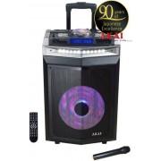 Boxa Audio Portabila Akai DJ-6112BT cu DJ mixer, activa, Bluetooth, dual USB, radio, microfon wireless, telecomanda si mufa intrare chitara, 120W (Negru)