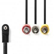 Nedis CVGB22400BK10 90°-os 3.5mm Jack - 3x RCA kábel 1m - fekete
