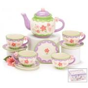 Ceramic Porcelain Tea Set with Pastel Mini Flowers in Box