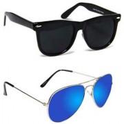 Wrode (AvtrSilBlueMrcyWyfrBLK) Wayfarer Aviator Sunglasses (Black Blue)