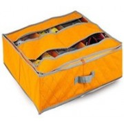 Everyday Desire Under the bed shoe organizer with 6 compartment (Orange)(Orange)