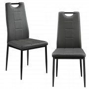 [en.casa]®Тапициран с изкуствена кожа стол Heidelberg - комплект от 2 броя - Сив