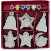 4 Set of 6 Unpainted Gypsum Blank White Reindeer Bell Christmas Tree Moon Star Santa Claus Christmas Ornaments Paint your Own DIY Crafts