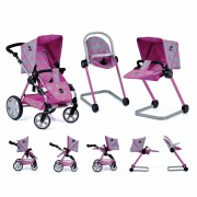 Set Carucior Papusi Icoo Grow With Me Dot Pink Grey
