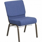 Flash Furniture Fabric Church Chair with Cup/Book Rack - Blue w/Gold Vein Frame, 21 1/4Inch W x 25Inch D x 33 1/4Inch H, Model FCH2214GVBLUB