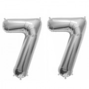 De-Ultimate Solid Silver Color 2 Digit Number (77) 3d Foil Balloon for Birthday Celebration Anniversary Parties