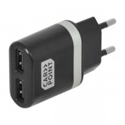 Carpoint USB adapter/ oplader 2400mAh Zwart