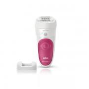Epilator Silk-epil Braun 5/500 SensoSmart, Pensete MicroGrip (Alb/Roz)
