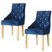 vidaXL Cadeiras de jantar 2 pcs carvalho maciço e veludo azul
