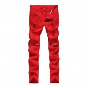 Pantalones Vaqueros Con Agujeros Jeans-rojo