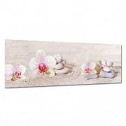 Stickers Muraux Tableau toile - Galets Orchidées 2