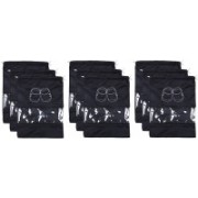 Kuber Industries Shoe Printed Parachute Waterproof 9 Pieces Shoe Cover/Shoe beg CTKTC013395(Black)