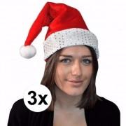 Merkloos 3x Kerstmuts rood met zilver voor volwassenen