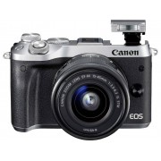 Canon Systemkamera Canon EOS M6 EF-M 15-45 mm IS STM 24.2 Megapixel Silver WiFi, Bluetooth, Full HD Video