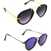 Hrinkar Wrap-around Sunglasses(Grey, Violet)