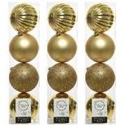 Geen 12x Licht gouden kerstballen 10 cm kunststof mix