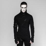 Punk Rave Cursed Lace Up Slits High Neck Long Sleeved T Shirt Black T-461