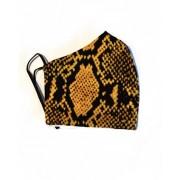 Tvättbart Andningsskydd / Ansiktsmask i Tyg Leopard (Färg: Guld)