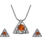 Mahi with Crystal Elements Yellow Triangle Beauty Rhodium Plated Pendant Set for Women NL1104143RYel