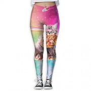 NUNOFOG Space Cat Pizza Pantalones de Yoga para Mujer, Blanco, M