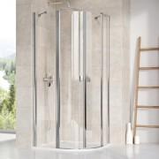 Ravak Chrome CSKK4-90 Négyrészes negyedköríves zuhanykabin szatén kerettel, transparent edzett biztonsági üveggel 3Q170U00Z1
