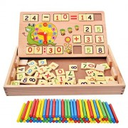 100PCS Wooden Number Sticks + 70PCS Bricks Blocks Maths Mathematics Counting Educational Toy + Snail Clock Teaching Time Learning for Kid Child Maths Early Education Learning
