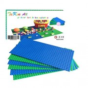"""Building Bricks Block Base Plates Compatible With Lego Variety Pack 5"""" x 10"""" Baseplates (3 Pack Blue &3 Pack Green) Tight Fit with all major brick sets"""