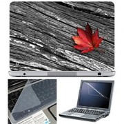 FineArts Laptop Skin 15.6 Inch With Key Guard & Screen Protector - Red Leave on Wood