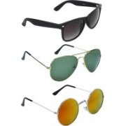 Zyaden Wayfarer, Aviator, Round Sunglasses(Black, Green, Multicolor)