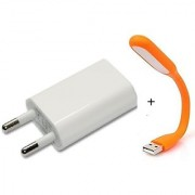 Combo of USB LIght and USB Charger Adapter ( assorted Colors) By KSJ Accessories