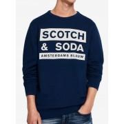 Scotch & Soda plava muška hoodica Amsterdams Blauw
