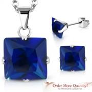 Ezüst színű nemesacél szett, nyaklánc, medál és fülbevaló, Capri Blue színű cirkónia kristállyal