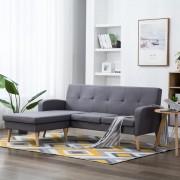 vidaXL Ъглов диван, тапицерия от текстил, 186x136x79 см, светлосив