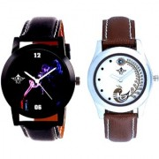 Black Cigar Dial And Brown Peacock Feathers Colour Couple Casual Analogue Watch By Vivah Mart
