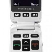 Primo by DORO 413 telefon pro seniory - véčko nabíjecí stanice, tlačítko SOS stříbrná