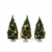 Decoris Mini kerstbomen met LED verlichting en versiering 15 cm