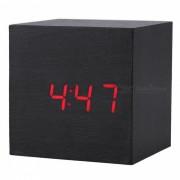 BSTUO Madera Cuadrado Desktop LED Despertador con Termometro - Negro