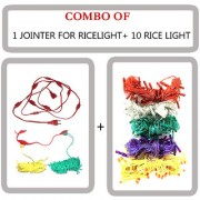 DIWALI COMBO (1 JOINTER WIRE FOR RICE LIGHT 9+1 FEMALE SOCKET + 10 RICE LIGHTS)