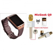Mirza DZ09 Smart Watch and Q9 Microphone Karrokke Bluetooth Speaker for OPPO FIND 7A(DZ09 Smart Watch With 4G Sim Card Memory Card| Q9 Microphone Karrokke Bluetooth Speaker)
