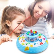 EsOfficce Fishing Game,Double Rotating Board, Electric Fish Toy with Flashing Lights and Music, 26 Fish and 4 Fishing Poles, Board Games for Toddlers