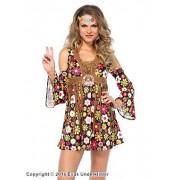 Hippie-klänning med långa fransar, maskeraddräkt