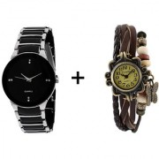 Gtc Combo Of Black Silver Quartz Analog Watch For Man With Brown Designer Leather Analog Watch For Woman