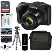 Canon PowerShot SX420 IS Digital Camera (Black) with 20MP, 42x Optical Zoom, 720p HD Video and Built-In Wi-Fi + 32GB Card + Reader + Spare Battery + T