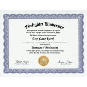 Firefighter Firefighting Degree: Custom Gag Diploma Doctorate Certificate (Funny Customized Joke Gift - Novelty Item)