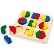 Set cu forme colorate din lemn, 18 piese, Bino Toys
