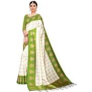Indian Beauty Women's Mahendi Color Mysore Silk Printed Saree Border Tassels With Blouse Piece(WEDDING-JHUMKA-MAHENDI_Free Size)