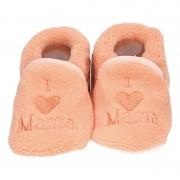 Babyslofjes Kraamcadeau zalmroze babyslofjes/pantoffels love mama